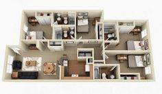 After having covered 50 floor plans each of studios, 1 bedroom, 2 bedroom and 3 bedroom apartments, we move on to bigger options. A four bedroom apartment or ho 3d House Plans, House Layout Plans, Modern House Plans, Small House Plans, House Layouts, Home Map Design, Small Space Interior Design, 4 Bedroom House Designs, 4 Bedroom House Plans