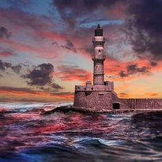 The Old Venetian Harbour, Chania, Creta, Greece. Lighthouse Photos, Lighthouse Art, Greece Pictures, Beautiful Buildings, Greece Travel, Great Places, Cool Pictures, Exterior, Photo And Video