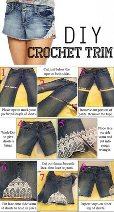 DIY with Old Jeans Old jeans may be the best thing to wear, but they are also one of the best materials for DIY projects. Get the ideas going with these pictures of DIY with old jeans. Diy Clothes Videos, Clothes Crafts, Crochet Trim, Diy Crochet, Crochet Shorts, Lace Shorts, Denim Skirt, Denim Jeans, Diy Old Jeans