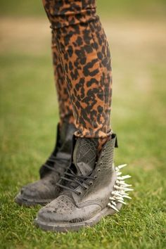 #shoes #boots #spikes #leather