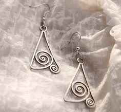 "Handmade earrings Art Deco ""Delta"" silver wire wrapped"