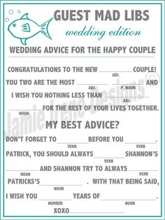 Wedding Mad Libs, can be used at ceremony. reception or part of invitations