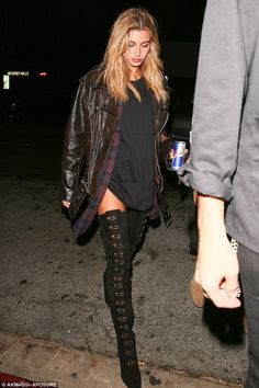 Hailey Baldwin wearing Stella Luna 19 Over-the-Knee Boots, Marques'Almeida Oversized Nappa Leather Biker Jacket and RTA Genevieve Plaid Shirt Dress Hailey Baldwin Model, Estilo Hailey Baldwin, Hayley Baldwin, Boho Outfits, Winter Outfits, Cute Outfits, Fashion Outfits, Shirt Over Dress, Look Cool