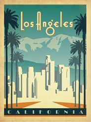 Los Angeles Skyline - After winning international acclaim for creating the Spirit of Nashville Collection, designer and illustrator Joel Anderson set out to create a series of classic travel posters that celebrates the history and charm of America's greatest cities. He directs a team of talented Nashville-based artists to help him keep the collection growing.