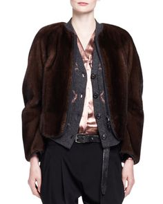 Jersey-Trim Mink Fur Zip Jacket by Brunello Cucinelli at Bergdorf Goodman.
