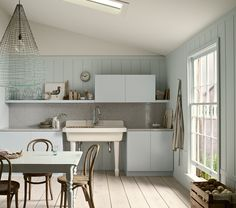 """bentwood chairs, Benjamin Moore """"Breath of Fresh Air"""" and """"Cloud Cover"""""""