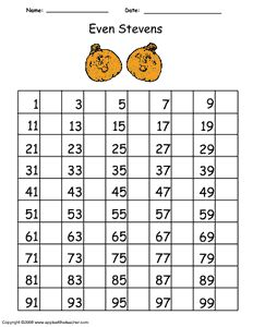 Practice writing even numbers with this handy 100 number chart.