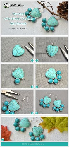 How to Make Heart Turquoise Bead Earrings With turquoise beads and copper wires, you only need a little of wrapping skill and then a pair of earrings will be finished!