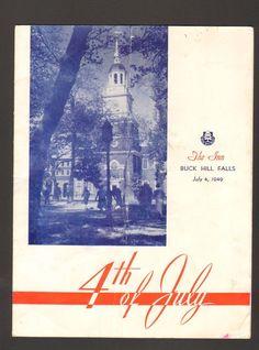 1949 Program and Menu 4th of July The Inn Buck Hill Falls Pennsylvania PA