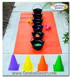 "Witches Brew -- kids Halloween party game!  Could use for St. Patrick's Day for ""pots of gold"" & toss giant coins of some kind???"