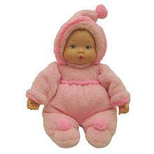 $22.99 My First Baby Powder Pink - Madame Alexander. This adorable little baby doll will intrigue your childs senses with her soft fabric body and hands, velvety outfit, and sweet vinyl face and hands. Crafted entirely of baby-safe materials, this My First Baby doll is washable and perfect for tiny hands to grasp on and pull. Measures 12 tall.
