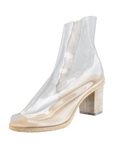 2013 SPRING TRENDS : APPARENTLY TRANSPARENT: PVC Ankle Boot, Clear by MM6 Maison Martin Margiela at Bergdorf Goodman.
