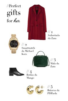 Gifts for her, christmas gifts, wishlist, red coat, smartwatch, bag