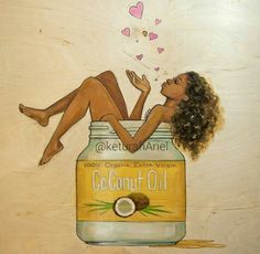black art Looking to get a boost of daily energy Are you dieting Do you have a skin condition Dry hair Or, just want to improve your overall health Start using our Organic Virgin Coconut Oil. Black Girl Art, Black Women Art, Black Girl Magic, Art Girl, Natural Hair Art, Pelo Natural, Natural Hair Styles, Natural Curls, African American Art