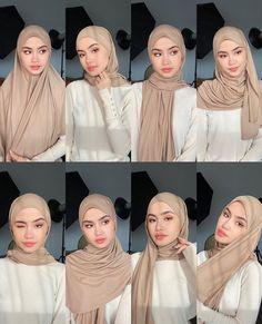 Modern Hijab Fashion, Street Hijab Fashion, Hijab Fashion Inspiration, Muslim Fashion, Mode Inspiration, 80s Fashion, Korean Fashion, Simple Hijab Tutorial, Hijab Style Tutorial