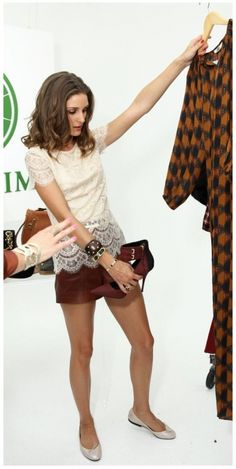 Olivia Palermo wearing French Sole Harriet Silver Leather flats Tibi Leather High Waist shorts Cartier Love bracelet