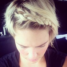 Pin for Later: The Best Hairstyles For Your Workout  This style is especially good for keeping short hair in place during a workout. Learn how to do a headband braid here.
