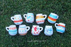 Matecitoss! Pasta Piedra, Polymer Clay Sculptures, Painted Pots, Starbucks, Pottery, Mugs, My Love, Tableware, Projects