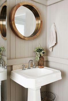 Mirror, wall color, wainscot