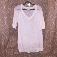 Ann Taylor Loft top Loft white shirt sleeve top/sweater . 55% linen 45% cotton. Never worn LOFT Tops
