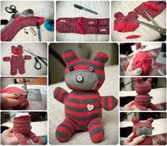 Don't throw out those old socks! Turn them into Sock Animals like this adorable Sock Teddy Bear. He's easy to make and just waiting to be cuddled. It's a beautiful gift idea. Sock Crafts, Cute Crafts, Crafts For Kids, Diy Crafts, Creative Crafts, Red Teddy Bear, Cute Teddy Bears, Sewing Toys, Sewing Crafts