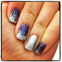 Seventeen web editor Kelli's amazing purple/silver glitter nails (created with #MAC pigments and gel)!