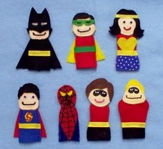 Wonder Woman finger puppet in gallery of superheroes. $20 on #etsy. Also like the Superman one for my Superman-loving hubby. :)