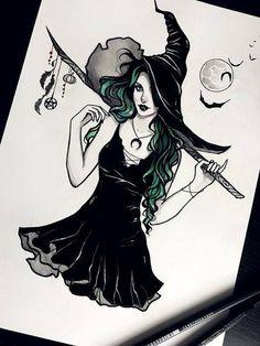 Witching hour halloween occult witchy cats pumpkin gothic wicca samhain pagan fantasy dark got artprint - dibujos anime Dark Fantasy Art, Fantasy Kunst, Dark Art, Anime Fantasy, Art Sketches, Art Drawings, Gothic Drawings, Desenhos Halloween, Character Art