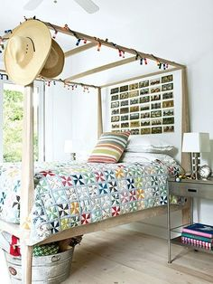 mi. Simple rustic style bedroom. Highlights that this bed Patchwork quilt. Like it.