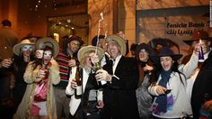 Partiers in Beirut, Lebanon, celebrate the new year early Tuesday