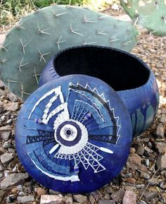 Blue Chevron   Gourd Bowl with Teneriffe by tangibledaydreams, $147.00