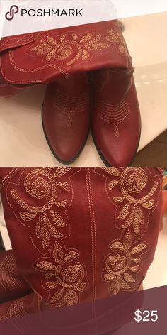 Red Cowboy Boots New never worn  Size 7 1/2 Shelf wear Without box Rampage Shoes Heeled Boots