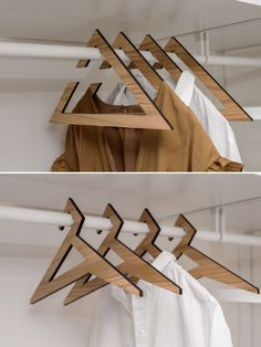 These unique closet hangers put a twist on a classic shape. It's a set of boho wooden hangers that can add elegance to your life and organize your closet at the same time. Cnc Laser, 3d Cnc, Laser Cut Wood, Wood Laser Ideas, Diy Wood Projects, Woodworking Projects, Wood Crafts, Cnc Wood, Wooden Shapes