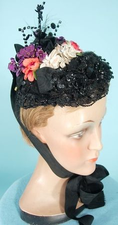 1880s evening bonnet Antique Dress.com