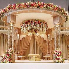 Top 24 Most Dazzling Wedding Stage Decoration That You Haven't Seen is part of Indian wedding decorations - This wedding season make your function a grand one with 24 dazzling wedding stage decoration ideas that you haven't seen in any other wedding Wedding Hall Decorations, Marriage Decoration, Backdrop Decorations, Wedding Themes, Decor Wedding, Wedding Ideas, Punjabi Wedding Decor, Indian Wedding Gifts, Wedding Centerpieces