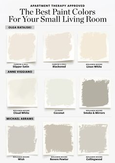 The Best Paint Colors for a Small Living Room. From creams, to dark grays, to off-whites, there are a lot of options to play with! How to Properly Furnish a Small Living Room. small living room ideas For more information, visit image link. Best Paint Colors, Paint Colors For Home, Paint Colours, Small Bedroom Paint Colors, Off White Paint Colors, Painting Small Rooms, Cream Paint Colors, Modern Paint Colors, Small Bathroom Colors