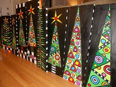 Home Design DIY - Magazine Déco Design Christmas Trees. That would be a beautiful school art project idea. {Sorry no link, but such a GLORIOUS project! Add link if you know it}<br> Christmas Art Projects, Christmas Tree Art, Christmas Arts And Crafts, Winter Art Projects, School Art Projects, Xmas Crafts, Christmas Art For Kids, Christmas Images, Christmas Activities