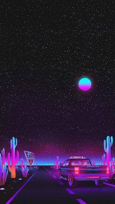Vaporwave night sky by Agathe Marcellin Glitch Wallpaper, Tumblr Wallpaper, Wallpaper Space, Iphone Background Wallpaper, Purple Wallpaper, Cellphone Wallpaper, Aesthetic Iphone Wallpaper, Aesthetic Wallpapers, Galaxy Wallpaper Iphone