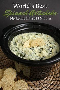 My new favorite party recipe. This spinach artichoke dip recipe is SO good and easy. Perfect appetizer or snack.