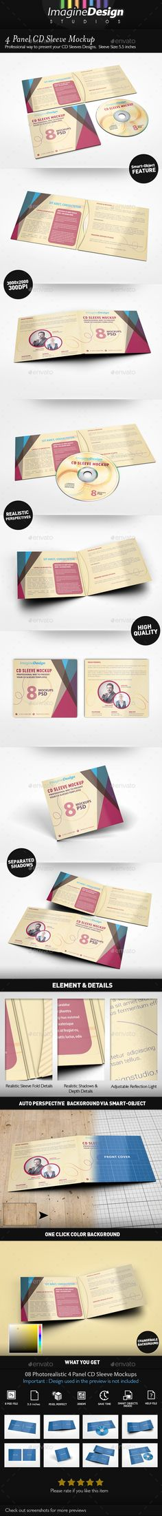 Buy 4 Panel CD Sleeve Mockup by BaGeRa on GraphicRiver. 4 Panel CD Sleeve Mockup Show your CD Sleeve with style! Create a Photorealistic CD Sleeve Mockup display in few seco. Cd Cover, Album Covers, Macbook Mockup, Company Profile Design, Information Graphics, Business Card Mock Up, Letter Logo, Print Templates, Flyer Template