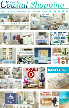 Find Coastal Bliss in these Stores: http://www.completely-coastal.com/p/completely-coastal-shopping.html Coastal, Nautical & Beach Decor from your Favorite Stores! From Pottery Barn to Target and Beyond!