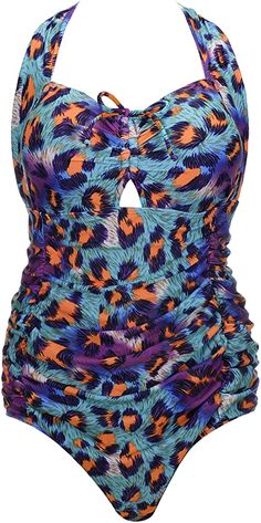 QZUnique Women's Retro Vintage One Piece Swimwear Floral Monokinis Plus Size Blue US L at Amazon Women's Clothing store