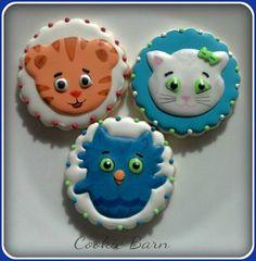 Daniel Tiger, Katrina Kitty, and O the Owl Custom Decorated Sugar Cookies
