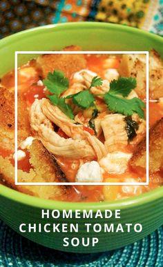 How to make homemade chicken tomato soup. Chili Recipes, New Recipes, Soup Recipes, Healthy Recipes, Healthy Meals, Favorite Recipes, Chicken Tomato Soup, Tomato Soups, Morrocan Food