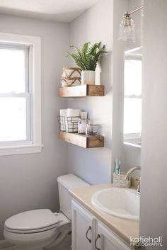 floating shelves bathroom pinterest