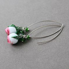 Glass Lampwork Earrings Lampwork Flower by JewelryBeadsByKatie