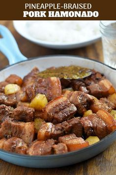 Pork Hamonado with pork belly braised in pineapple juice and soy sauce for the ultimate pork dish. Melt-in-your-mouth tender with a sweet and savory sauce, it's pure heaven on steamed rice! Filipino Recipes, Asian Recipes, Healthy Recipes, Filipino Food, Hawaiian Recipes, Pork Hamonado Recipe, Pork Belly Recipes, Pork Dishes, Pork Ribs