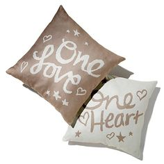 """Lyric Culture """"One Love, One Heart"""" Set of 2 Pillows"""
