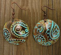 Perfectly paisley polymer clay earrings by adrianaallenllc on Etsy