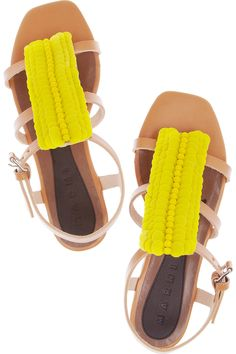 Marni paillette-embellished leather sandals. Loving the idea of nude gladiators for spring, and pops of neon yellow.